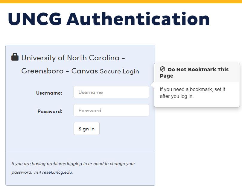 UNCG Canvas login